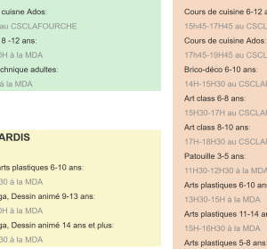planning cours artgora Clamart