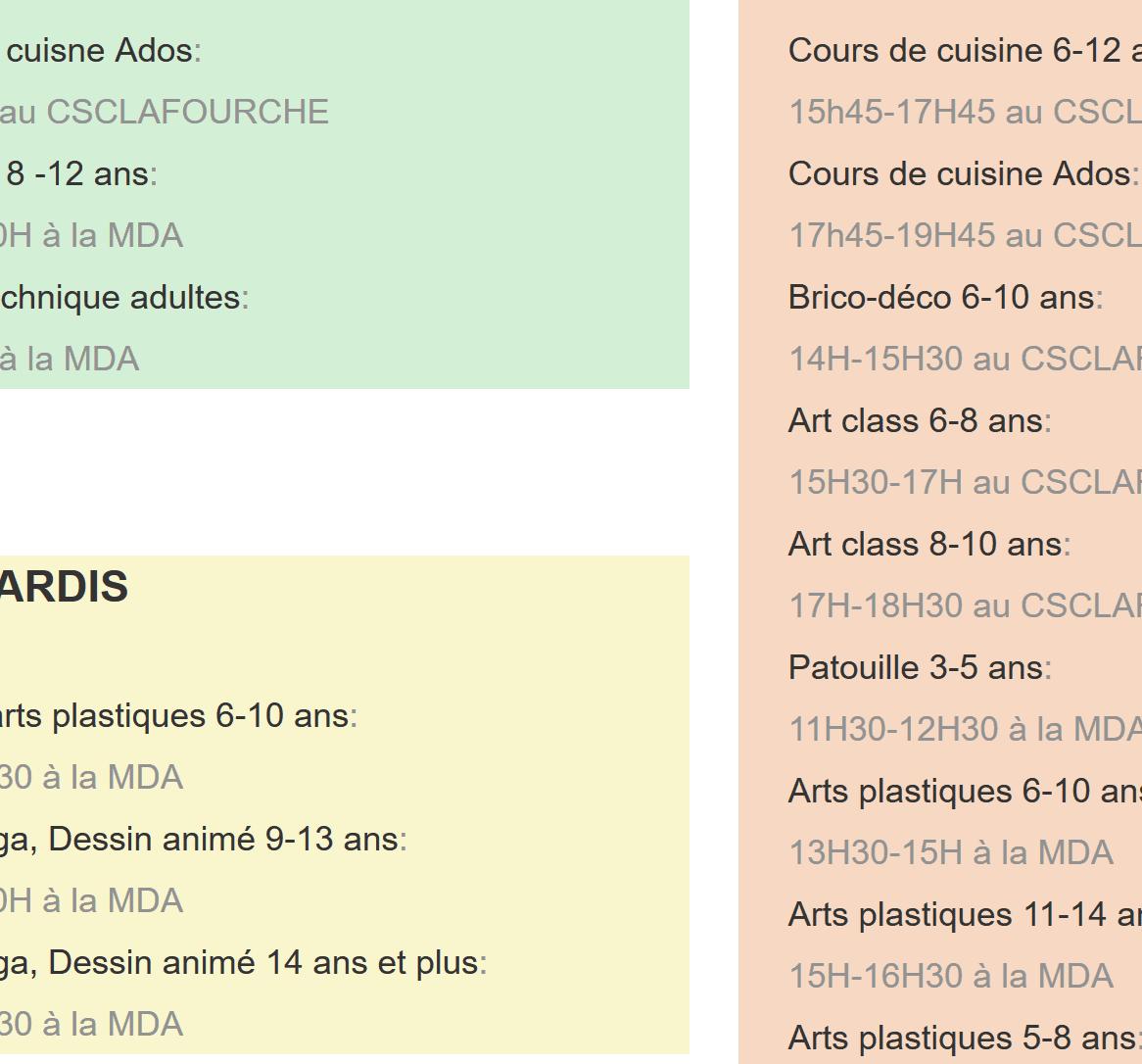planning cours artgora Clamart